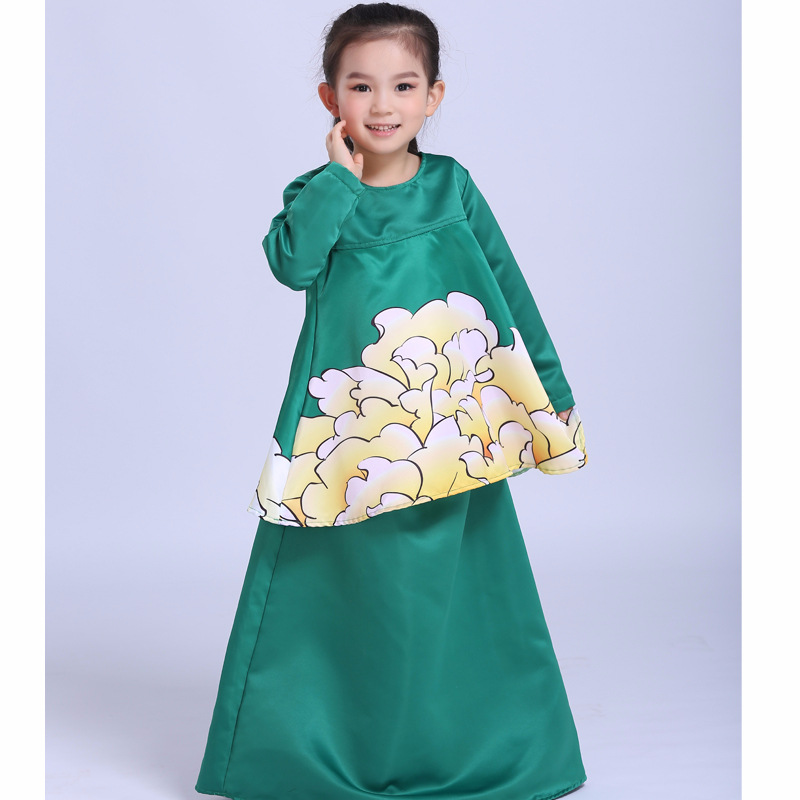 Muslim Abaya Islamic Children Dress Children Girl Princess Printed Flowers Dress 2018 Malaysia Kids New Year Dress<br>
