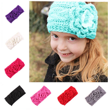 2016 New Fashion Winter Girls Headband Crochet Headwrap Knitted Flower Hair Band Ears Warmer Cute turban Hair Accessories