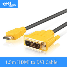 EKL HDMI to DVI DVI-D 24+1 Pin Male to Male Extension Cable 1080P 3D Adapter Cables for Monitor HDTV XBOX PS34(China)