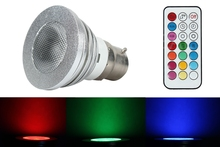 Unique LED control New 5W 100-240V B22 LED RGB Color Light Bulb Lamp+Remote Control high efficiency portable(China)