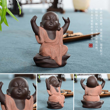 4pcs/set pottery sand tea pet look monk barbeque road half sitting on ceramic crafts ornaments boutique(China)