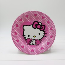 Food grade 1bag 30pcs 7'' Lovely Paper Plates Hello kitty for Valentine Birthday Wedding Nursery Party Tableware Party Supplies