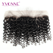 YVONNE Malaysian Curly Virgin Hair Lace Frontal 13x4 Natural Color 100% Human Hair Products Free Shipping(China)