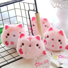 4Pcs/set Anime Kutusita Nyanko Cat Sushi Cat plush doll toys Kawaii mini Boots cat Plush pencil Bags key chains pendent