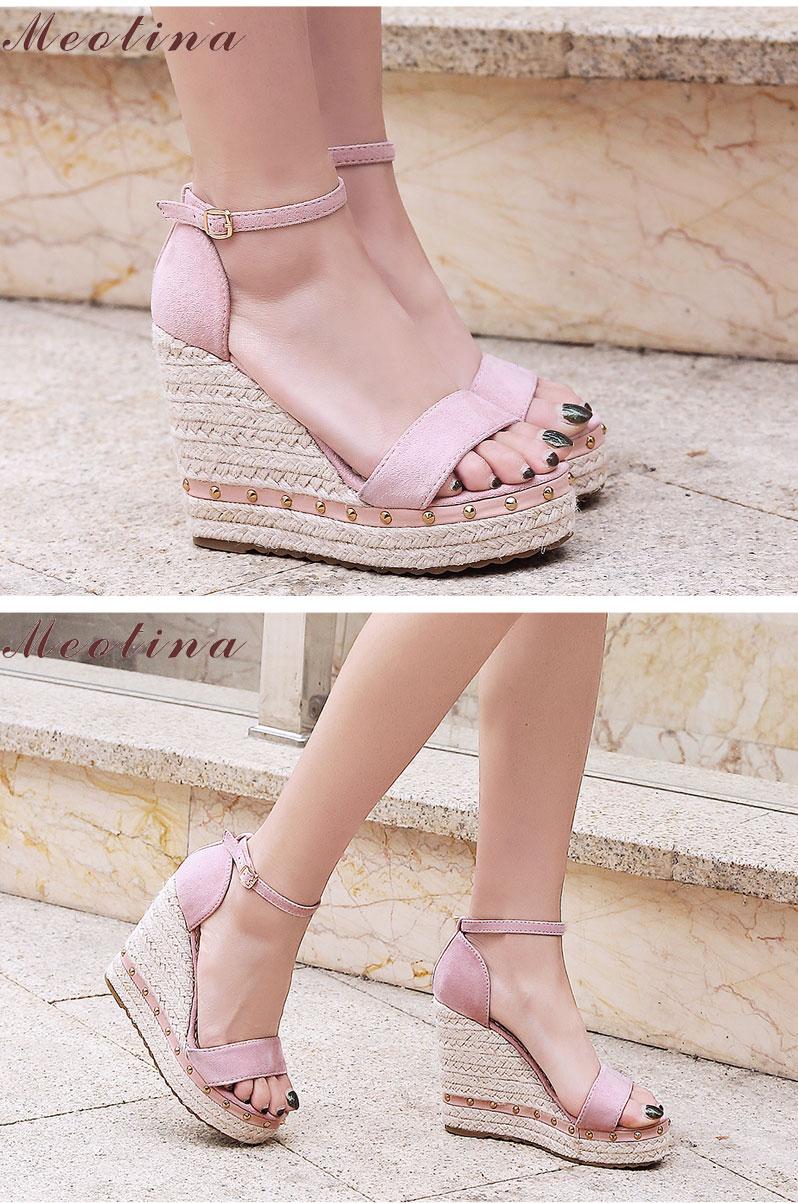 Women's Sandals, Platform Sandals, High Heels Shoes, Ankle Strap, Ladies Sandals Rivet Casual Footwear 10