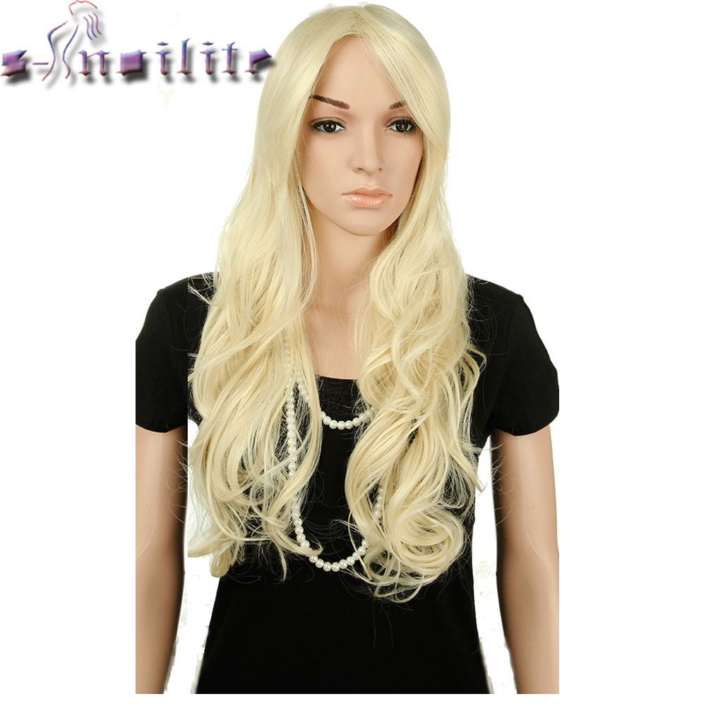 S-noilite Long Wavy Cosplay Red Green Puprle Pink Black Blue Sliver Gray Blonde Brown Synthetic Hair Wigs(China)