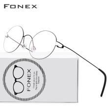FONEX Frame Women Screwless Eyewear Prescription Eyeglasses Myopia Optical-Denmark Round