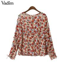 Vadim women vintage floral chiffon shirts long sleeve o neck  blouse European style fashion ladies outwear tops blusas LT2046