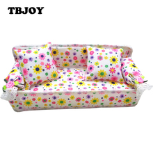1 Set Mini Flower Cloth Sofa Furniture Couch Doll House Accessories With 2 Full Cushions Toys Birthday Gifts For Children Girls