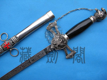 "S0002 TEMPLAR CRUSADER KNIGHTS OF ST. JOHN MASONIC SWORD EAGLE GUARD CHAIN 37.5""(China)"
