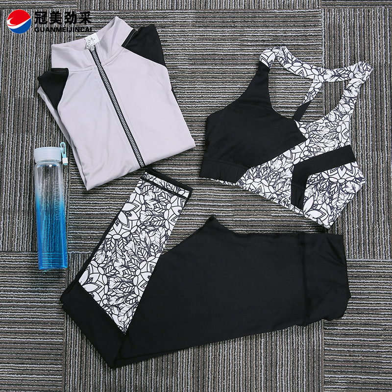 Autumn and winter new professional sports fitness running suit personalized printing speed dry Yoga suit three piece suit<br><br>Aliexpress