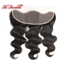 ALI ANNABELLE HAIR Brazilian Body Wave Lace Frontal 13X4 Ear To Ear Human Hair Lace Closure Natural Color Remy Hair Closure(China)