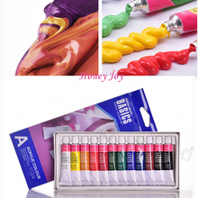12 Colors Acrylic Paint Color Set Professional 12 Tubes 6 ML Pigment for Artists Nail Art Hand Wall Textile Drawing Free Brush