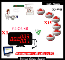 Wireless restaurant paging system For fast food restaurant With 1pcs Display Receiver and wireless service call bell (15pcs)(China)
