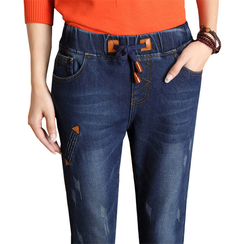 Winter Skinny Jeans Woman Elasticity Cashmere Warm Pantalones Woman Vetement  Plus Size Velvet Drawstring Jean High Waist K168Одежда и ак�е��уары<br><br><br>Aliexpress