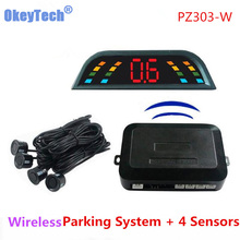 Okey Tech PZ303-W Wireless LED Auto Parking Sensor System 4 Sensor Car Reverse Backup Parking Assistant for Skoda Honda Audi NEW