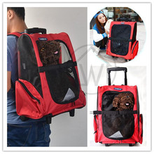1 set Protable Pet Dog Trolley Bag Dog Luggage Stroller Carrier Bag With Wheel Puppy Small Cat Travel Tote Bag Backpack Air Box