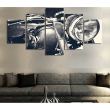 HD Printed 5 piece canvas art Motorcycle bike white black Painting Canvas Print room decor Free shipping