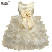 Summer Girls Christening Gown for party and wedding Princess Girl Kid Dress Chiffon Bow Infant Pageant Tutu Dress Baby  Clothing