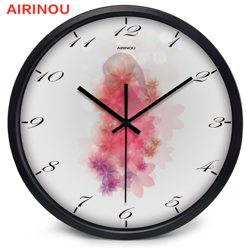 Airinou Art Character Beautiful Flower Neon Printing Living Room Wall Clock(China)