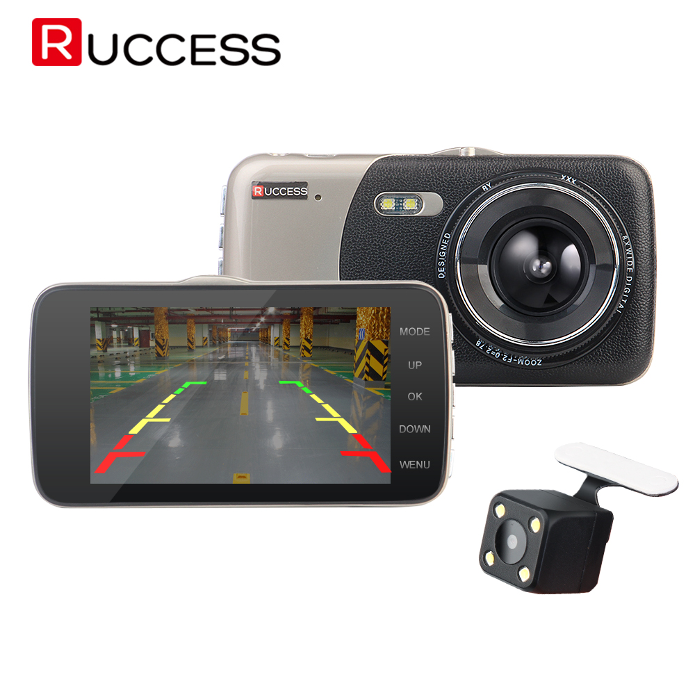 Ruccess DVRs 4 Car Dash Camera Front And Rear Video Recorder 1080P HD Car DVR Dual Lens With Rear View Camera Night Vision<br>