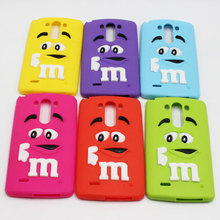 New Arrival M&M Chocolate Bean Colorful Rainbow Soft Silicone Back Cover Cartoon 3D M Phone Cases For LG G3 D858 D850 D852 D855