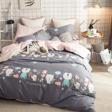 2018 Cats Dogs Animals Grey Bedding Set Cotton Fabric 4Pcs Queen Ru Europe Twin Size Duvet Cover Flat Sheet Pillow Cases(China)