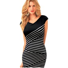 Sexy Women Summer V-neck Slim Stripe Knee Length Party Evening Office Pencil Dress