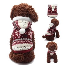 Christmas Soft Winter Warm Pet Dog Clothes Cozy Snowflake Coral Fleec Costume Clothing Jacket Teddy Windproof Hoodie Coat