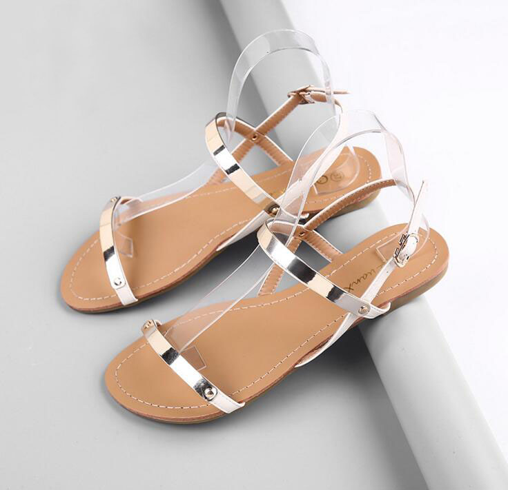 New womens sandals PU Concise summer female sandals and slippers flat with Shallow sandals women rubber Casual beach sandals<br><br>Aliexpress