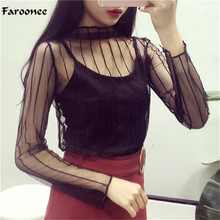 Faroonee Mesh T Shirts Women Long Sleeve See-through Ruffed Collar Embroidery Star Polka Dot Pattern Sexy Net Tee Tops Q5745