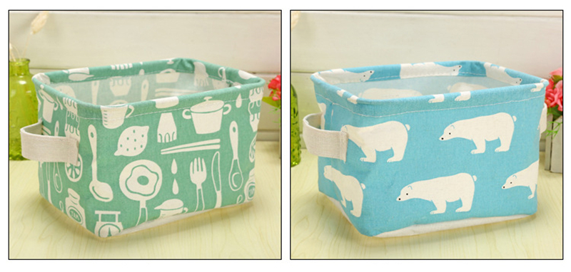 XC USHIO Cartoon Flamingo Rectangle Desktop Storage Box Linen Sundries Storage Organizer Cosmetic Storage Basket Container Case (9)