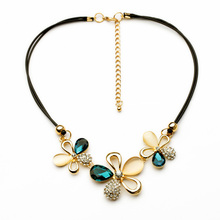 Simple High End Black Cotton Silk Bright-Colored Crystal Cute Nacklace(China)