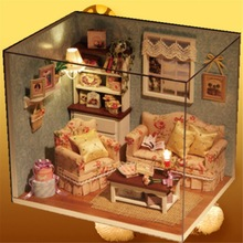 DIY Handmake Wooden Dollhouse Miniature Kit Happy Living Room With Cover Furniture Cute bedroom Model Girl Doll House Room Box(China)
