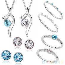 2016 Sumptuous Fashion Bridal Crystal Pendant Necklace Bangle Ring Stud Earrings Jewelry Sets  ARD2