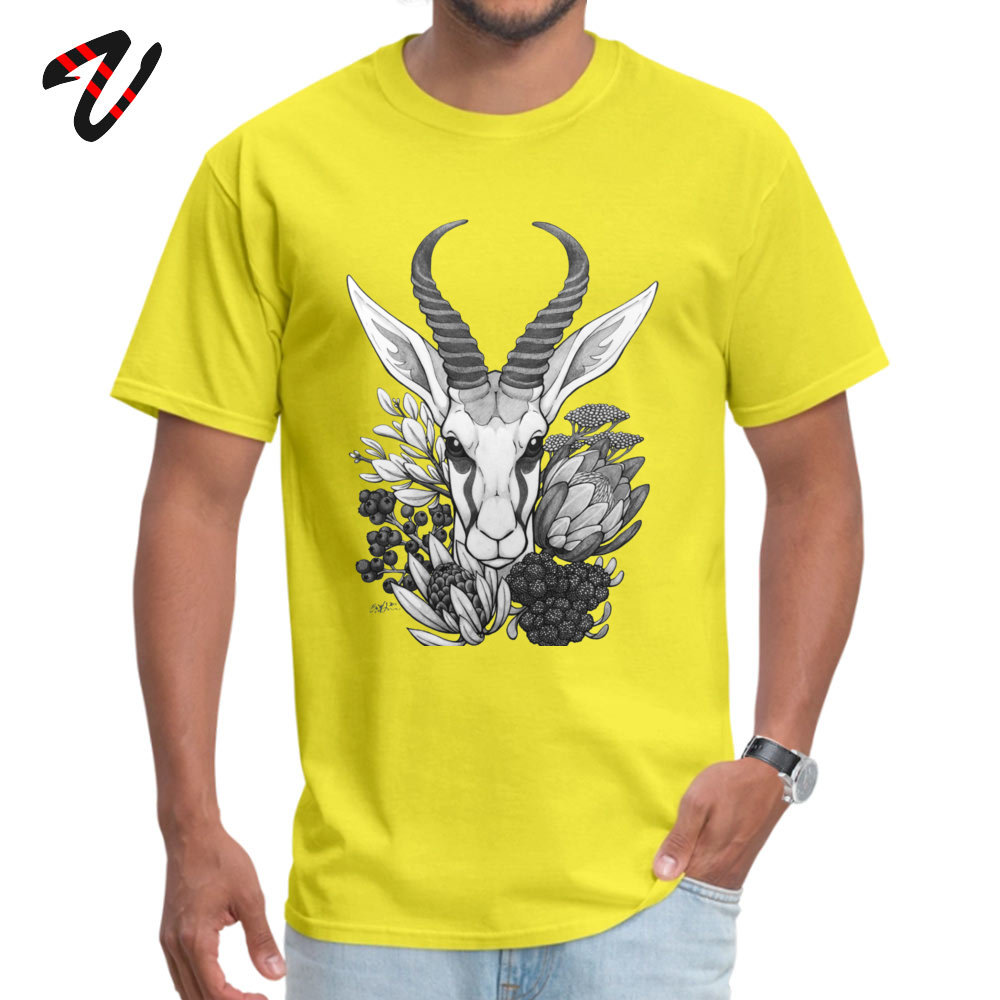 Springbok & Fynbos Tshirts 2019 New Fashion Simple Style Pure Cotton Round Neck Male Tops & Tees Tops T Shirt Thanksgiving Day Springbok & Fynbos 510 yellow