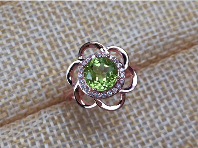 Peridot ring 6*6mm gem Women rings Natural peridot ring 925 sterling silver Wholesale Fine jewelry Gemstone