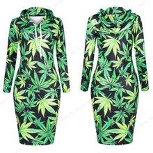 Green Harajuku Weed Leaf Long Hoodie Dress Winter Hooded Sweatshirt Dress Loose Pullovers Tracksuits Women Tennis Dresses