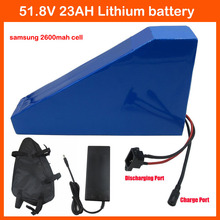 51.8V 23AH 23.4AH Lithium battery triangle shape 1000W 52V 23AH 14S Electric Bike battery use samsung 2600mah cell 1500W