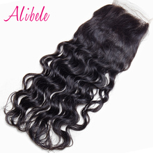 AliBele Brazilian Water Wave Lace Closure 4x4 inch Hand Tied of 100% Remy Human Hair 8-18 inch ONLY Free Parting Top Closure
