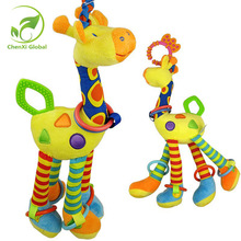 Plush Infant Baby Rattles Development Soft Giraffe Animal Handbells Handle Toys Hot Selling With Teether Baby Toys(China)