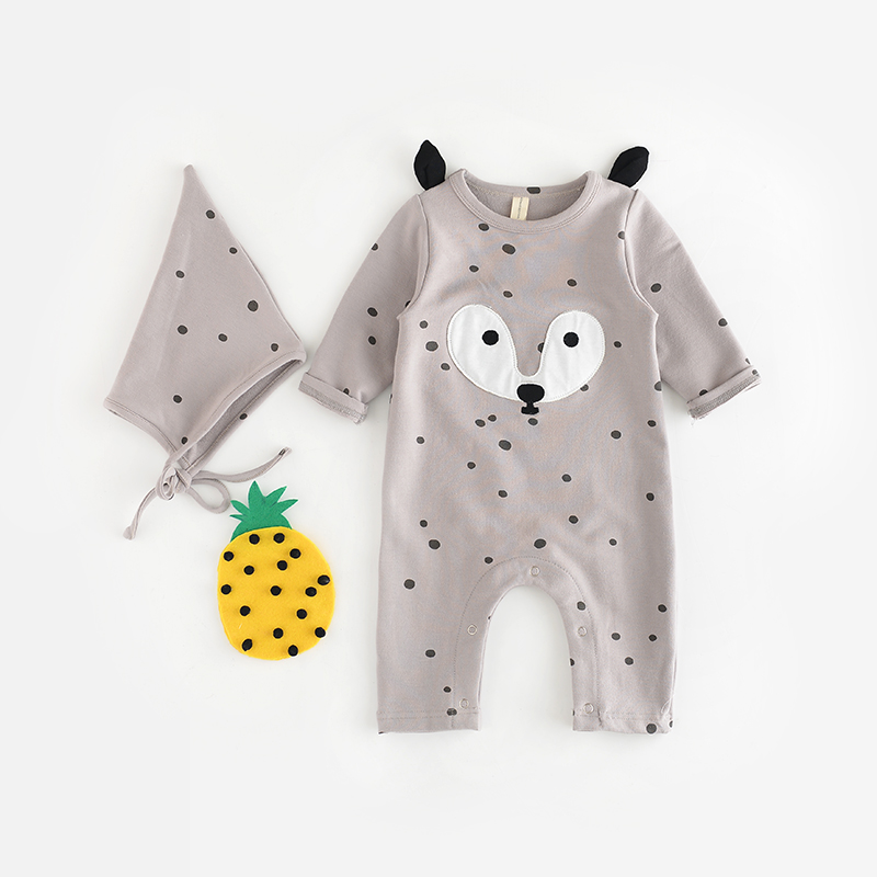 Newborn Baby Rompers Spring Auutumn Baby Girls Clothes Cute Cartoon Fox Infant Jumpsuits  Baby Boy Clothing Set Romper+Hat Set<br><br>Aliexpress