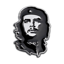 Che Guevara Argentina Revolution Hero Freedom Fighter Chrome Metal Head 3D Emblem Totem Badge Car Styling Body Sticker Black Red(China)