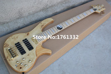 Hot sale 24 frets 5 strings natural wood color electric bass guitar with Taiji pattern,gold hardware,can be changed as request