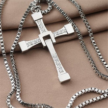 Fast and Furious 7 hard gas actor Dominic Toretto Cross Necklace for Men Silver Color Movie Jewelry women accessories