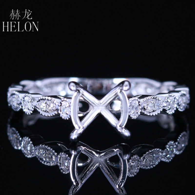HELON 8mm Round Cut Soild 14K (AU585) White Gold Natural Diamonds Semi Mount Engagement Ring Setting Women Party Vintage Jewelry