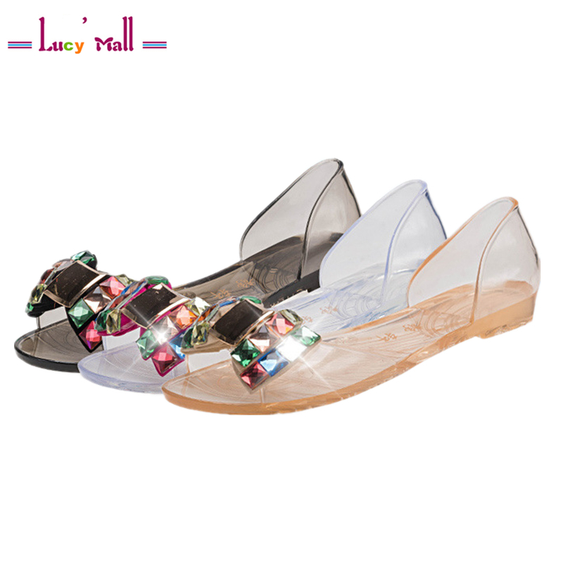 Ultralight Womens Summer Sandals Shoes Ladies Shallow Flat Heel Jelly Shoe with Rhinestone Sandalias Mujer Rasteirinha 2017<br><br>Aliexpress
