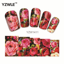 YZWLE 1 Sheet Chic Flower Nail Art Water Decals Transfer Stickers Splendid Water Decals Sticker(YZW-1411)