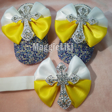 bowknot Custom Sparkle Bling crystals blue Rhinestones Baby girls shoes  infant 0-1Y ribbon shoes 1feabe31d11a