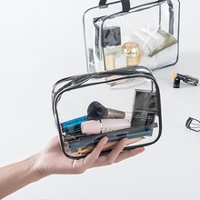 Transparent Clear Travel Cosmetic Bags PVC leather Zipper Makeup Bags Organizer Beauty Case Toiletry Bag Bath Wash Make Up Case(China)